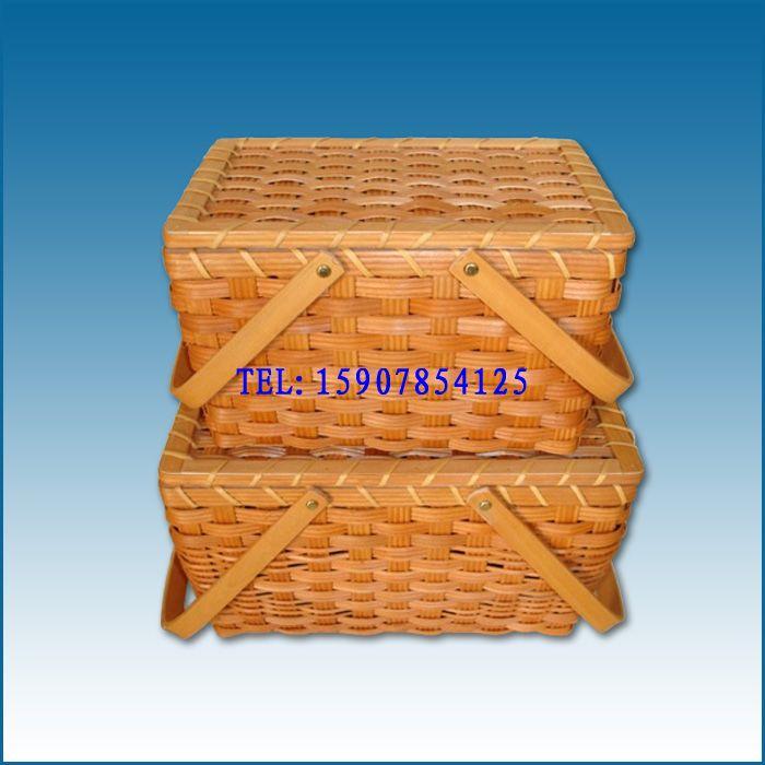 木片篮子价格|礼品包装篮|竹编水果篮|手工竹筐竹篓图片