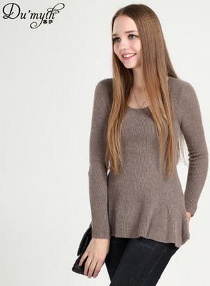 慕萨2014秋冬新款圆领纯羊绒衫女荷叶下摆套头毛衣鄂尔多斯产