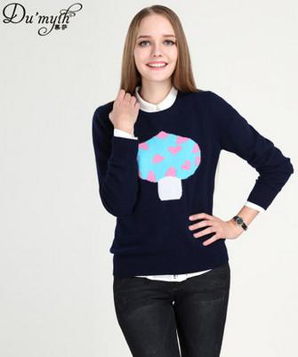 慕萨2014秋冬新款图案羊绒衫女纯羊绒修身套头毛