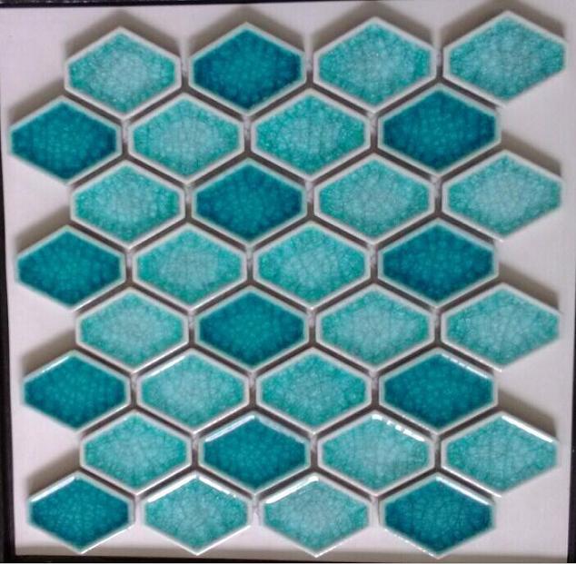 陶瓷菱形马赛克 冰裂纹凹面蛋挞砖