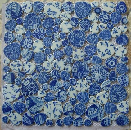 陶瓷青花瓷鹅卵石马赛克