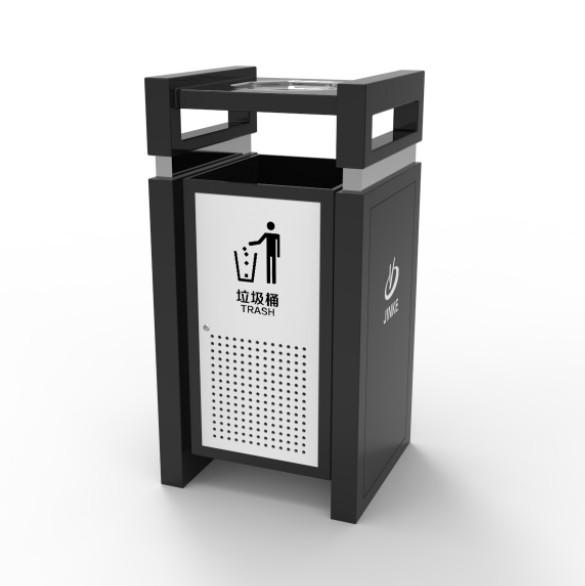 单筒户外垃圾桶 公园景区广果皮箱 新款八卦形不锈钢座地烟灰盅