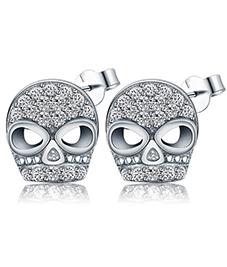 厂家直销 925银欧美时尚骷颅头形锆石耳环