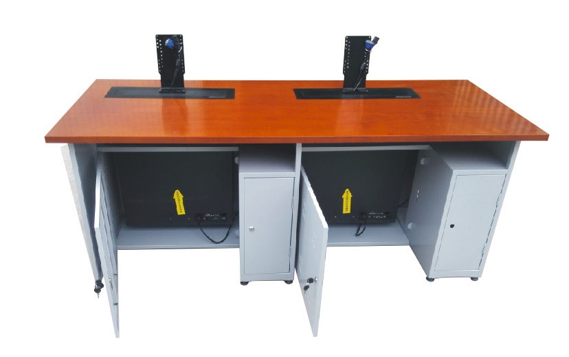结  构:每张桌子配置2台电动遥控液晶升降机(当时电脑时液晶显示器