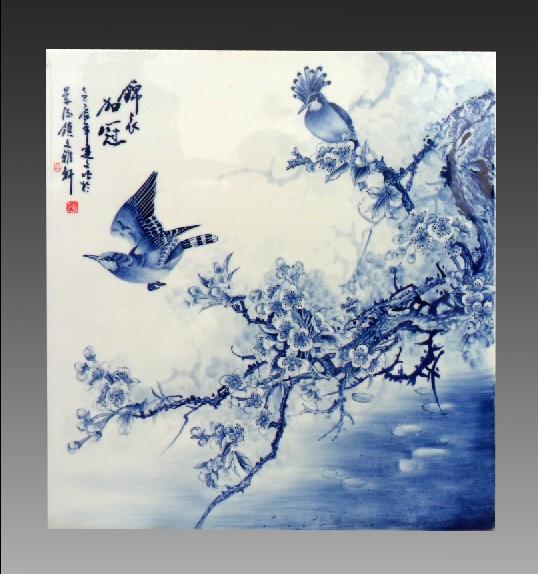 青花瓷板画 手绘青花瓷板画 手绘陶瓷瓷板画