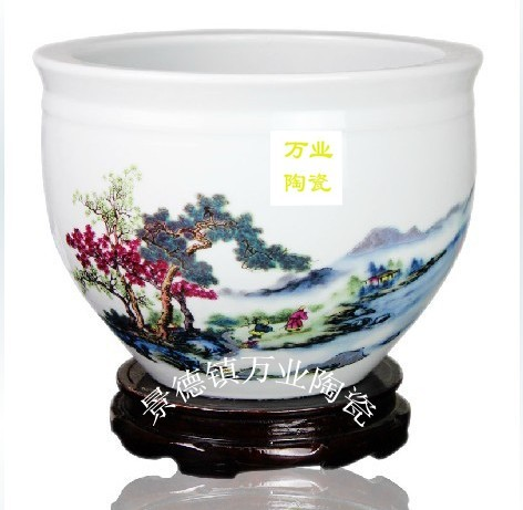 陶瓷鱼缸 粉彩瓷鱼缸 粉彩陶瓷鱼缸价格