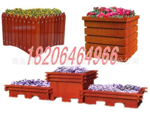 青岛厂家定做木花盆道路市政防腐木花箱|潍坊园林花箱木花槽