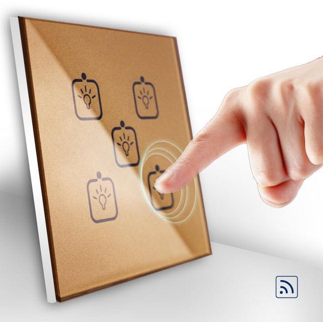 智能墙壁开关方案/射频无线遥控轻触五路金色触摸方案开发/钢化玻璃墙面开关方案开发