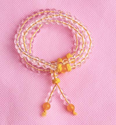 天然白水晶佛珠手链