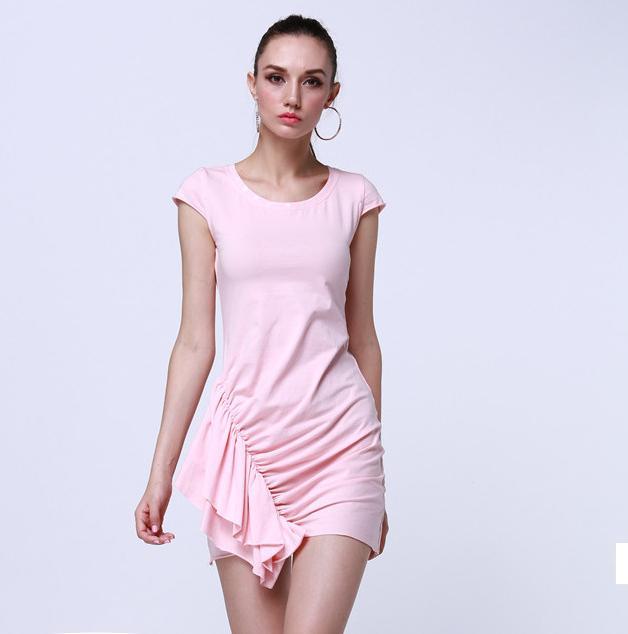 2015欧美时尚针织斜摆裙 性感舒适气质夏款连衣裙 厂家直销