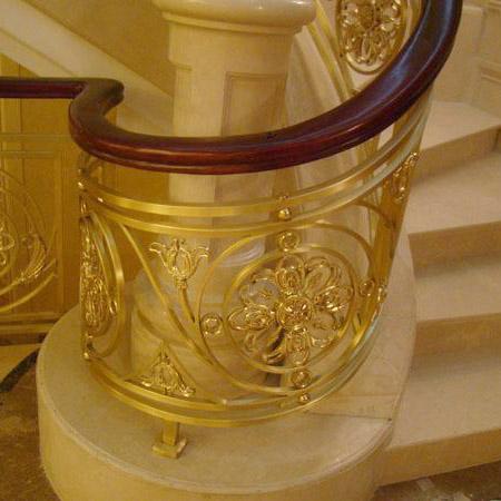 商场金黄色铜栏杆|中式铜楼梯|纯铜立柱上海工厂定制报价