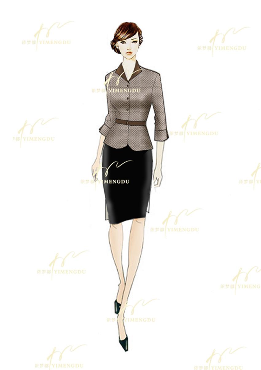 商务修身款衬衫西服套装定做 职业服装设计厂家无锡依梦都服饰