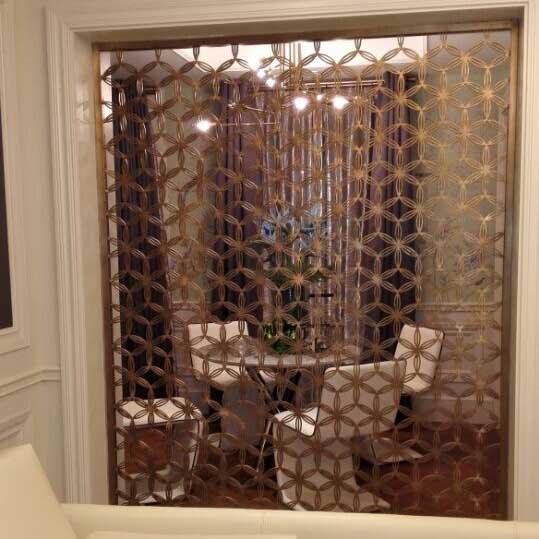 上海青浦|铜|屏风|隔断|玄关|花格|格栅|效果图