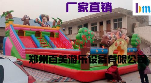 福建厦门室外广场经营充气大滑梯赚钱吗/新款小丑儿童充气蹦床价格