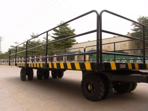 厂家直销中德重科5吨带护栏平板车 工业拖车 可配叉车牵引平板车