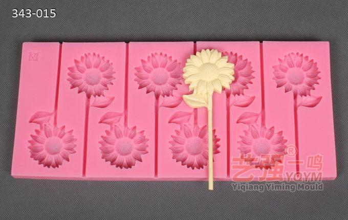 太阳花闪光棒棒糖硅胶模具 东莞市星空棒棒糖模具