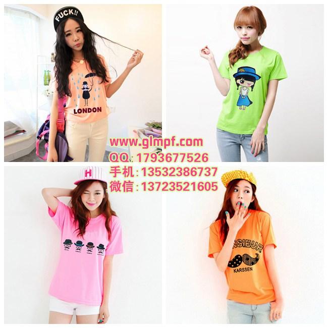 韩版女装哪家比较好几元休闲印花T恤批发服装批发市场新款印花棉T恤