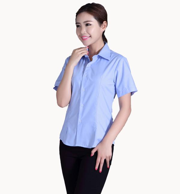 厂家直销亿诚制服YCC16夏季女士职业女装短袖衬衫棉衬衣大码OL修身显瘦正装工作服