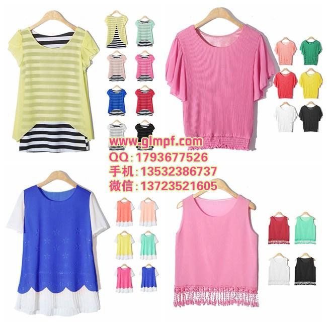 宽松显瘦大版雪纺衫服装批发市场夏季韩版女装价格实惠雪纺蕾丝衫