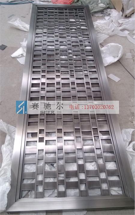 晋州市黑钛方块设计屏风