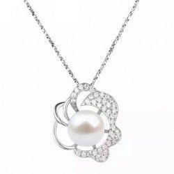 品牌首饰 天然淡水珍珠锆石925纯银荷叶花吊坠项链七夕情人节礼物
