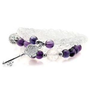 天然石紫水晶手链 七夕情人节礼物 多层多圈