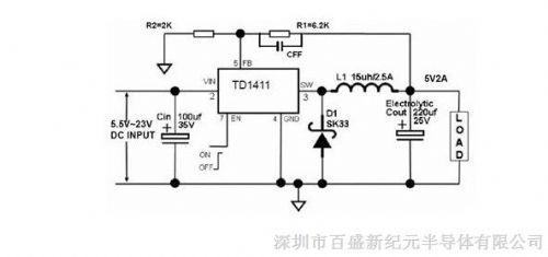 2a 23v 380khzpwm降压dc/dc转换器td1411