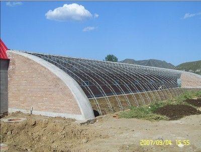 外观图: 温室大棚建设施工冬暖式温室大棚全钢架型