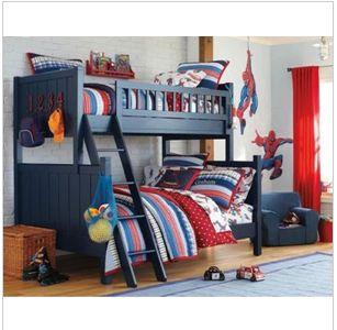 美式乡村风格高低床儿童实木床多功能双层床上下铺松木组合家具