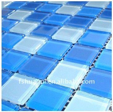 游泳池水池专用瓷砖 蓝色水晶玻璃马赛克装修