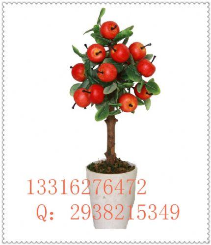 春节节日装饰摆放仿真果树人造苹果树盆景