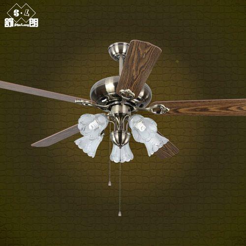 f010欧式带风扇吊灯仿古客厅餐厅电扇灯52寸木叶可遥控带灯风扇