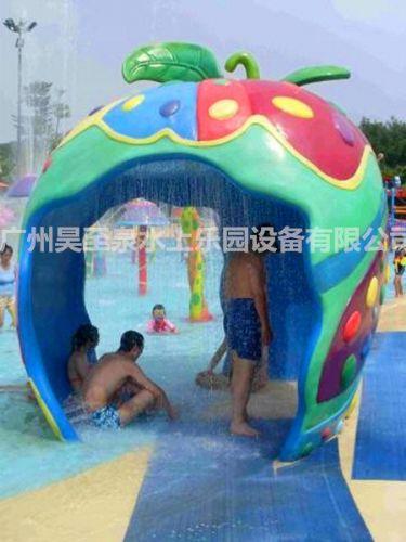水上乐园儿童游艺设备:戏水小品雨水苹果屋