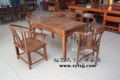 鸡翅木茶桌组合 鸡翅木茶桌三件套 鸡翅木茶几 仙艺天下古典家具