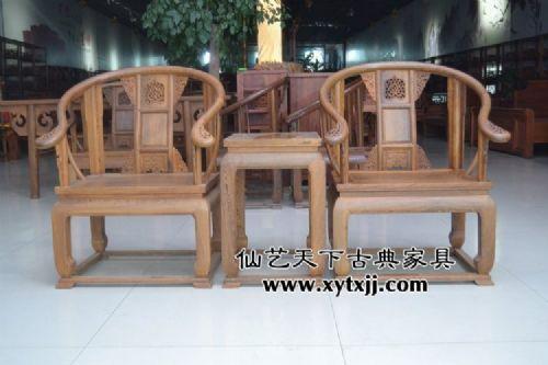 鸡翅木皇冠椅三件套 鸡翅木茶室三件套 鸡翅木茶桌三件套 仙艺天下