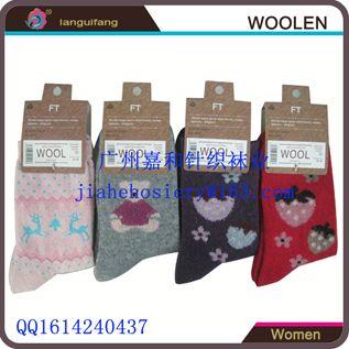 羊毛厂家直销秋冬款女士羊毛袜 羊毛女袜