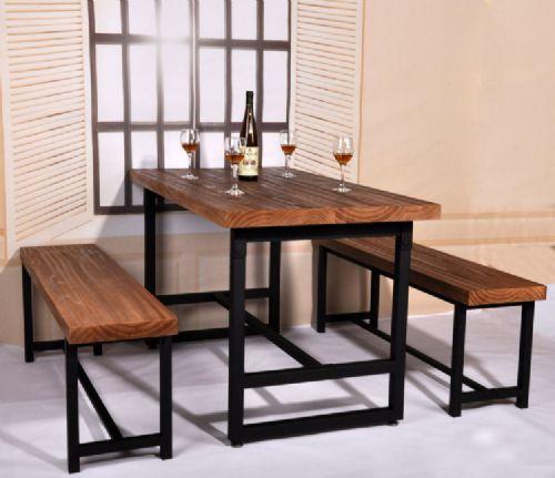 铁艺餐桌饭桌椅组合 美式乡村实木家具酒吧桌