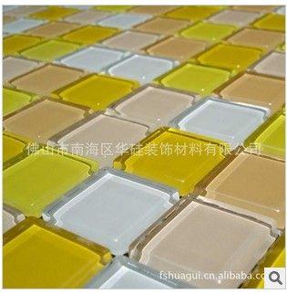 蛋糕店背景墙用黄白红色水晶玻璃马赛克装修