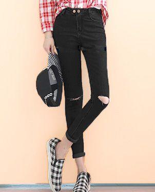 弹力破洞小脚长裤批发热卖女裤批发厂家直销时尚新款女装批发