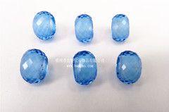浅蓝色菱形切面玻璃珠