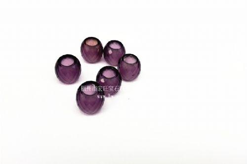 深紫色菱形切面玻璃车轮珠