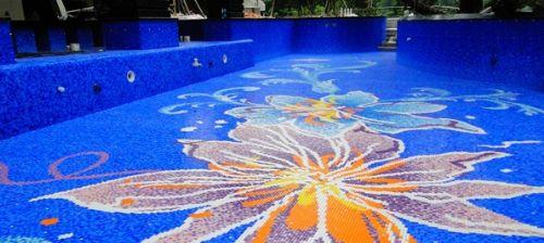 山西运城市游泳池拼图拼花玻璃马赛克-厂家直销25陶瓷蓝色马赛克图片