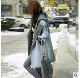 2015韩国东大门秋冬新款韩版连帽茧型廓型长款毛呢外套大衣女装