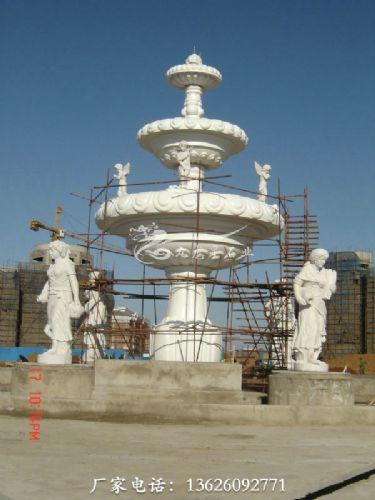 石雕喷泉 喷泉水池雕刻 双塔形石雕水钵