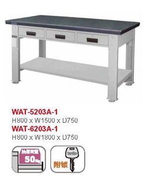 并排3抽屉工作桌天钢WAT-5203A钢板工作桌重型钳工台