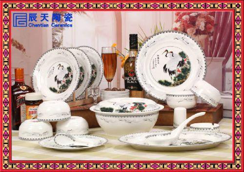 供应高档青花花卉餐具礼品  商务馈赠礼品餐具定做生产