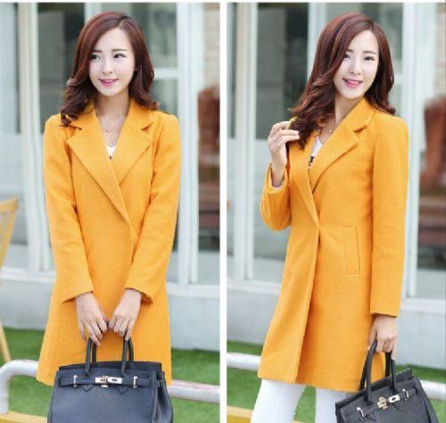 女士长款呢子修身长袖大衣厂家直销冬季韩版新款呢子大衣批发