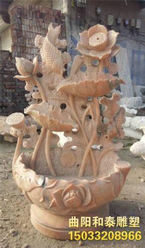 石雕荷花盆 石雕鲤鱼喷水 石雕盆景 荷花鱼缸 石雕荷花喷泉