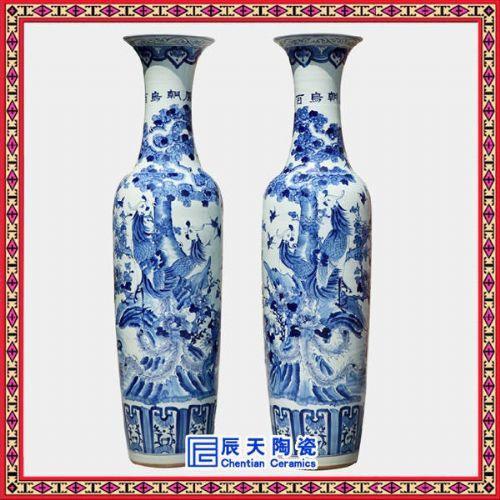 欧式田园风格陶瓷大花瓶生产 定做手绘青花大花瓶厂家