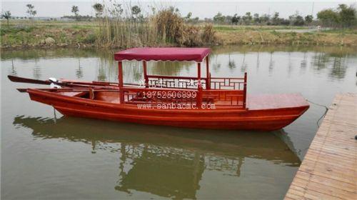 木船 观光船 红色高低篷观光船
